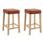 Pair of Wooden Bar Stool with Padded Seat (Brown)