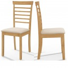 Ledbury Wooden Chair with Fabric Seat Pad in Light Oak Finish (Pair)