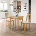 Ledbury Drop Leaf Round Table Set with 2 Chairs in Light Oak Finish
