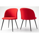 Pair of Fabric Dining Chair with Metal Legs - Red