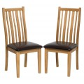 Oak Dining Chair with Brown Leather Seat Pad (Pair)